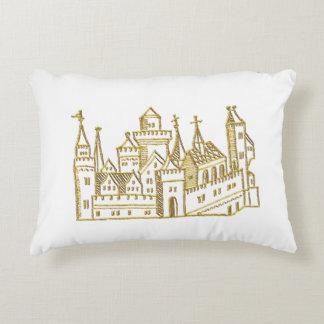 Vintage Heraldic Castle #2 Crest Faux Gold Decorative Cushion