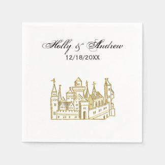 Vintage Heraldic Castle #2 Crest Faux Gold Paper Napkins