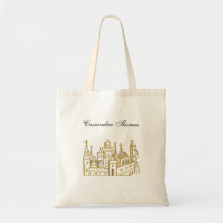 Vintage Heraldic Castle #2 Crest Faux Gold Tote Bag