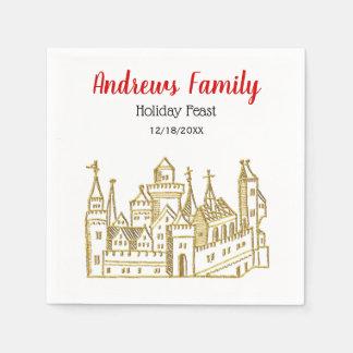 Vintage Heraldic Castle #2 Crest Faux Gold Xmas Paper Napkin