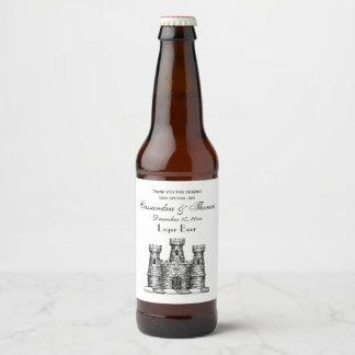 Vintage Heraldic Castle Emblem Coat of Arms Crest Beer Bottle Label