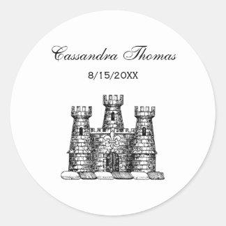 Vintage Heraldic Castle Emblem Coat of Arms Crest Classic Round Sticker
