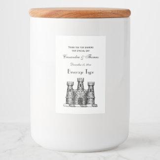Vintage Heraldic Castle Emblem Coat of Arms Crest Food Label