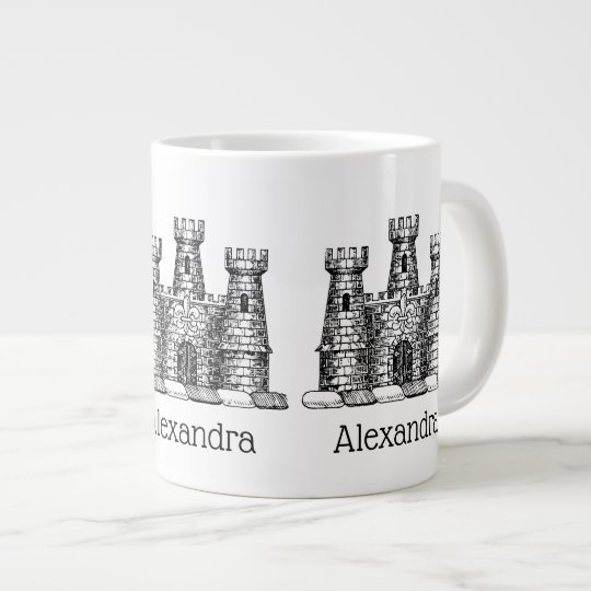 Vintage Heraldic Castle Emblem Coat of Arms Crest Large Coffee Mug