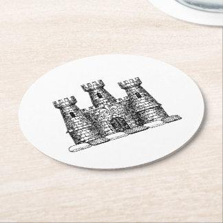 Vintage Heraldic Castle Emblem Coat of Arms Crest Round Paper Coaster