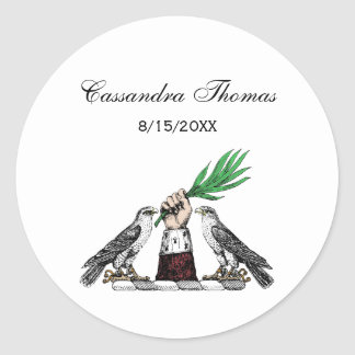 Vintage Heraldic Falcons With Hand Crest Emblem Classic Round Sticker