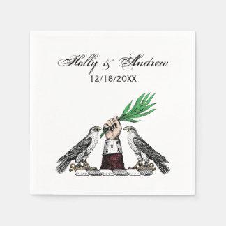 Vintage Heraldic Falcons With Hand Crest Emblem Disposable Napkin