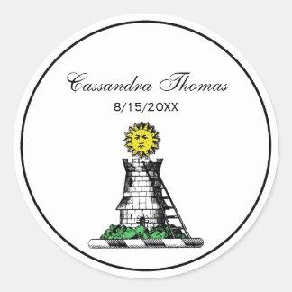 Vintage Heraldic Medieval Castle Emblem Crest Classic Round Sticker