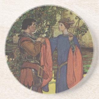 Vintage Hero Prince Knight Shining Armor Princess Drink Coaster