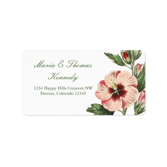 Vintage Hibiscus Floral Address Mailing Labels