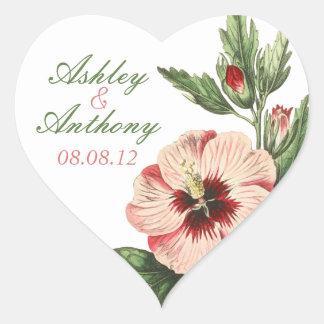 Vintage Hibiscus Floral Heart Wedding Stickers