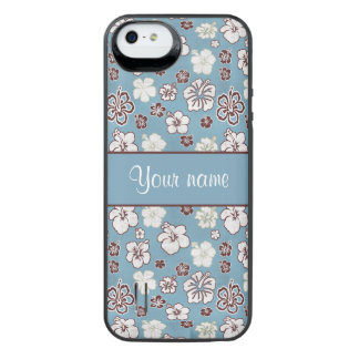 Vintage Hibiscus Flowers Pattern iPhone SE/5/5s Battery Case