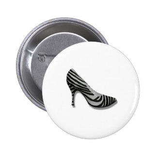 Vintage High Heel Zebra Stripe Shoes Pump Buttons