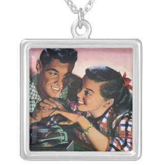 Vintage High School Sweet Hearts, Promise Ring Square Pendant Necklace