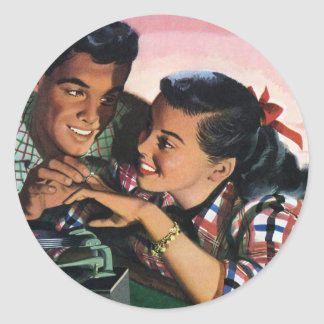 Vintage High School Sweet Hearts, Promise Ring Sticker