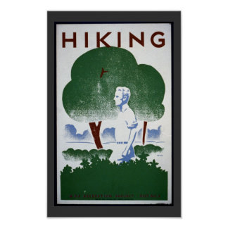 Vintage Hiking Art Poster