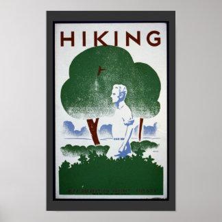 Vintage Hiking Art Poster