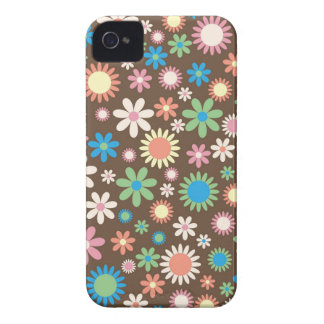 Vintage, hippie pink, green, salmon red daisies iPhone 4 cases