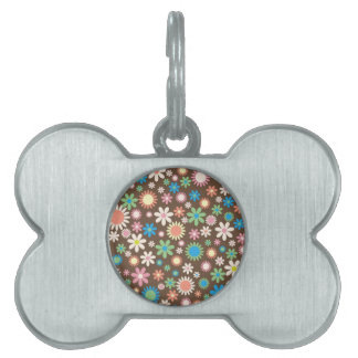 Vintage, hippie pink, green, salmon red daisies pet ID tag