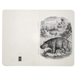Vintage Hippopotamus Baby Personalized Retro Hippo Journal
