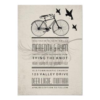 "VINTAGE HIPSTER BICYCLE WEDDING INVITATION 5"" X 7"" INVITATION CARD"