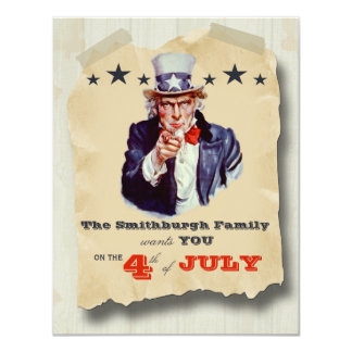 Vintage Hipster Fourth Of July Celebration Invite