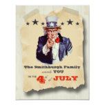 Vintage Hipster Fourth Of July Celebration Invite 11 Cm X 14 Cm Invitation Card