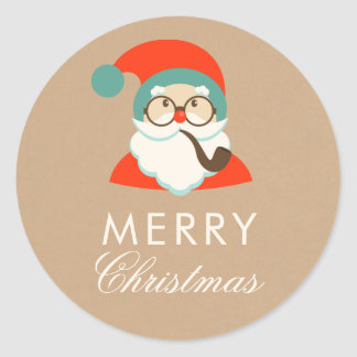 Vintage Hipster Santa Christmas Party Classic Round Sticker