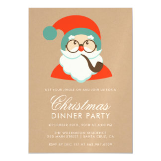 Vintage Hipster Santa Christmas Party Magnetic Card