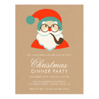 Vintage Hipster Santa Christmas Party Postcard