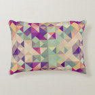 Vintage Hipsters Geometric Pattern. Decorative Cushion
