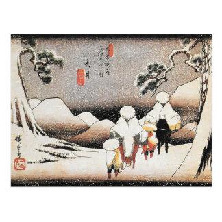 Vintage Hiroshige Japan Snow Art Print Postcard