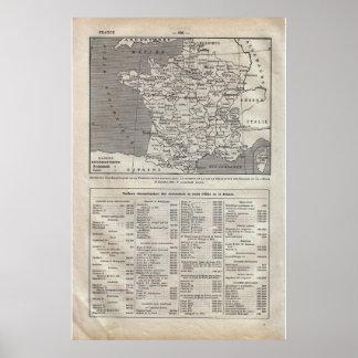 VIntage historic 1920 France Departements Poster