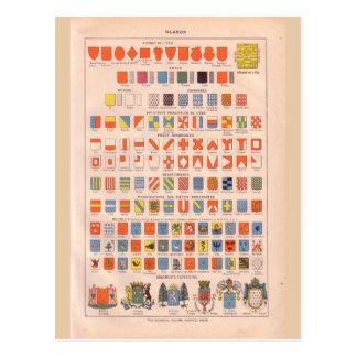 Vintage historic  crests and badges postcard