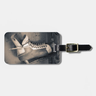 Vintage hockey skate BW Luggage Tag