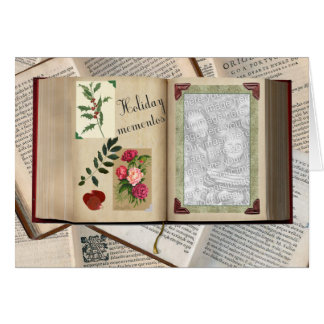 Vintage Holiday Album with Your Photo Greeting Card
