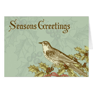 Vintage holiday card with a bird