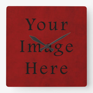 Vintage Holiday Christmas Red Parchment Paper Square Wall Clock