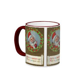 Vintage Holiday Christmas Santa Coffee Mug