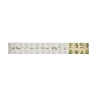 Vintage Holiday Trees Pattern Wraparound Address Label