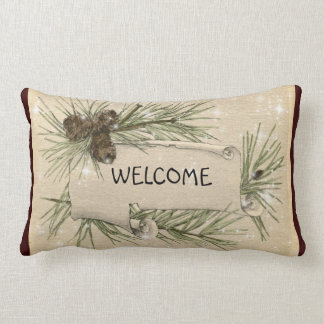 Vintage Holiday Welcome Pillow Pine Cones