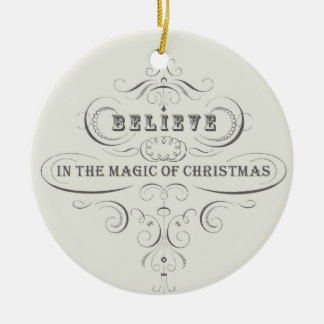 Vintage Holiday-White-Believe ornament