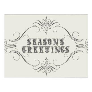 Vintage Holiday-white-Season's Greetings Postcard