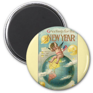 Vintage Holidays, Greetings for the New Year 6 Cm Round Magnet