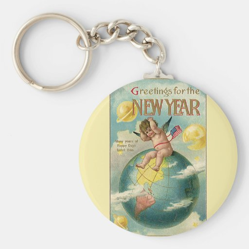 Vintage Holidays, Greetings for the New Year Key Chain