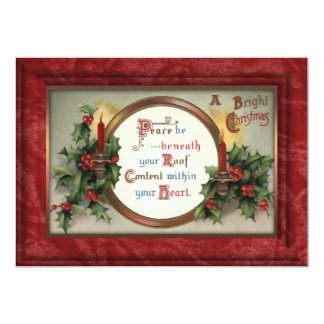 Vintage Holly and Candles 13 Cm X 18 Cm Invitation Card
