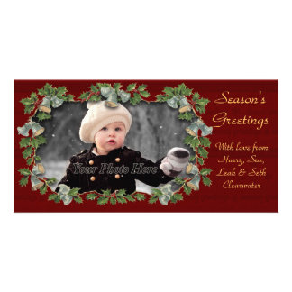 Vintage Holly & Bells Christmas Photocard Photo Greeting Card