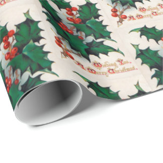 Vintage Holly Berry Christmas party wrap Wrapping Paper