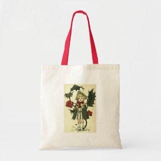Vintage Holly Budget Tote Bag