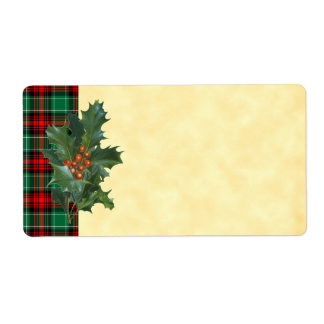 Vintage Holly Red Green Plaid Blank Holiday Label Shipping Label